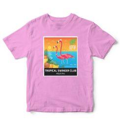 HopTop rövidujjú póló pink - Tropical Swinger felirattal